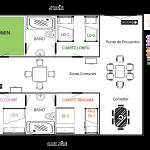 Mapa de habitaciones en Finca Suasie B&L.